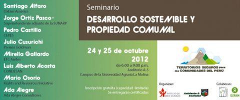 Seminario gratuito: Desarrollo Sostenible y Propiedad Comunal